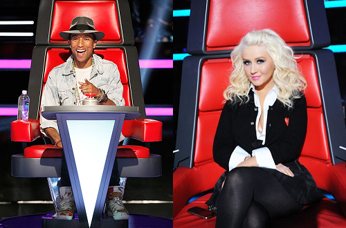 Pharrell Williams and Christina Aguilera on 'The Voice'
