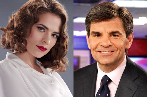 Hayley Atwell and George Stephanopoulos