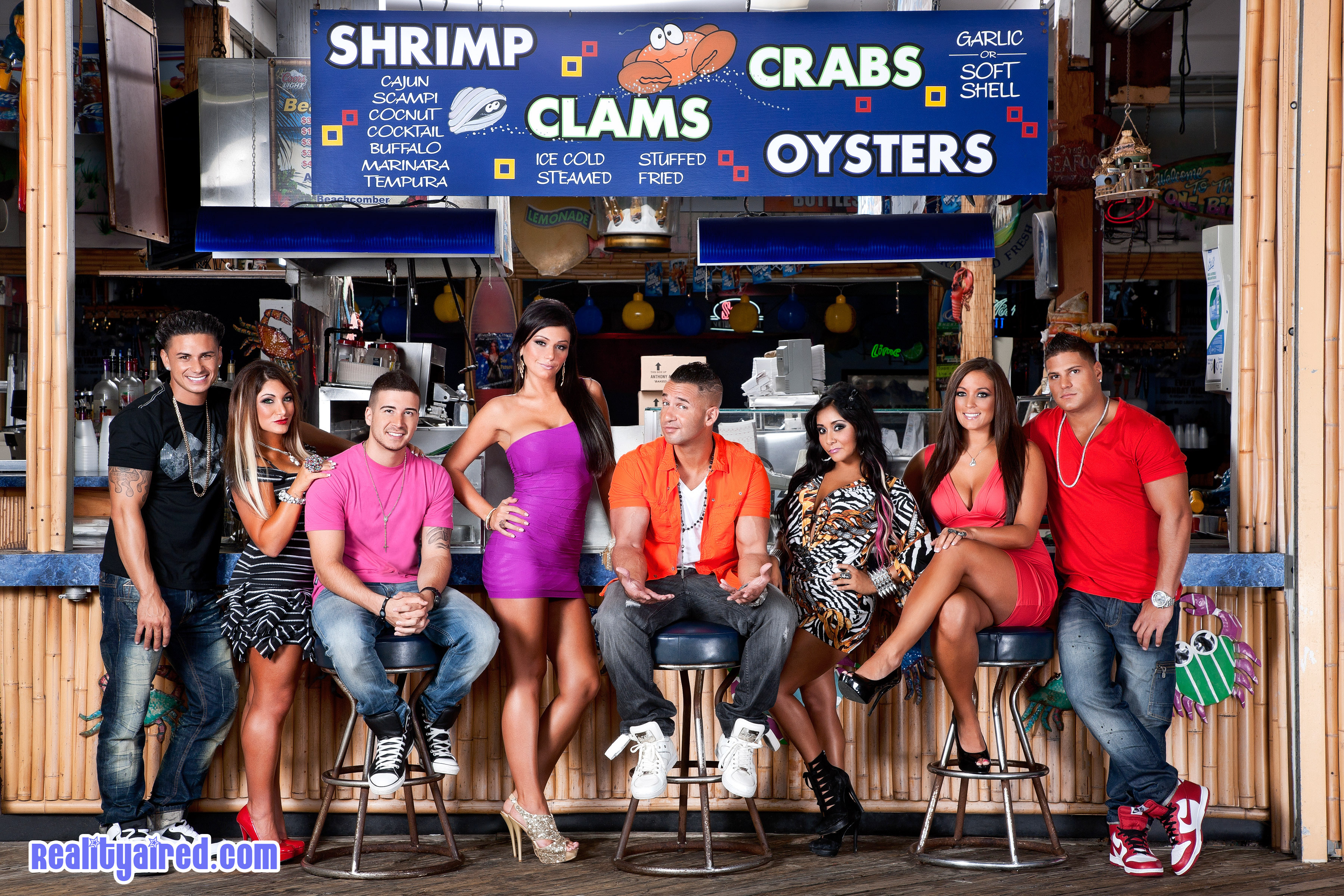 The cast of MTV's Jersey Shore in season five.
